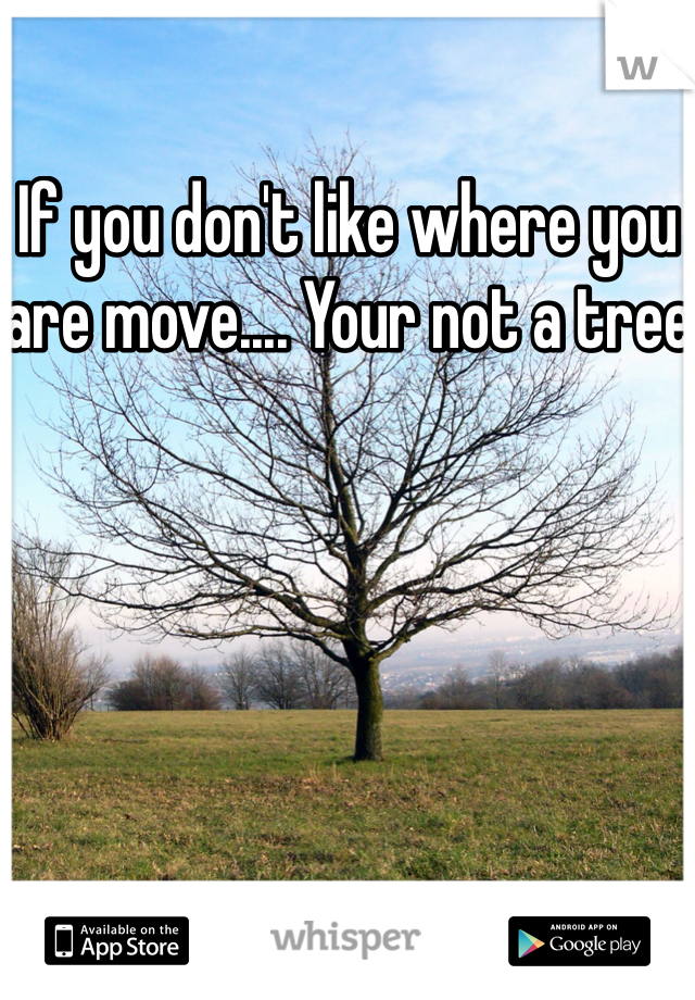 If you don't like where you are move.... Your not a tree