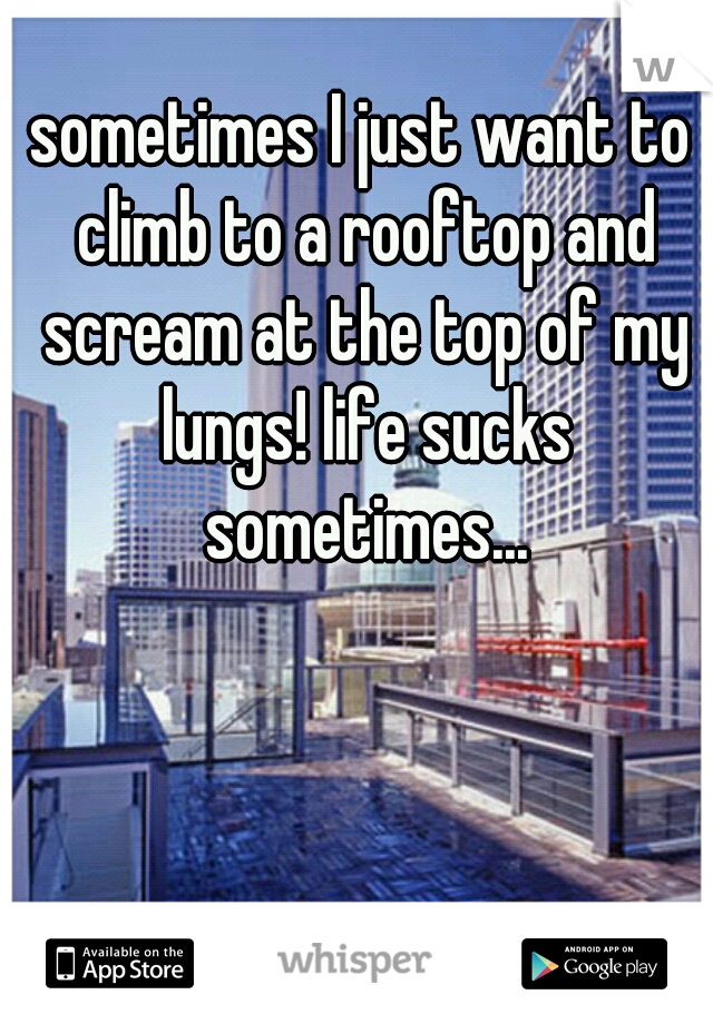 sometimes I just want to climb to a rooftop and scream at the top of my lungs! life sucks sometimes...