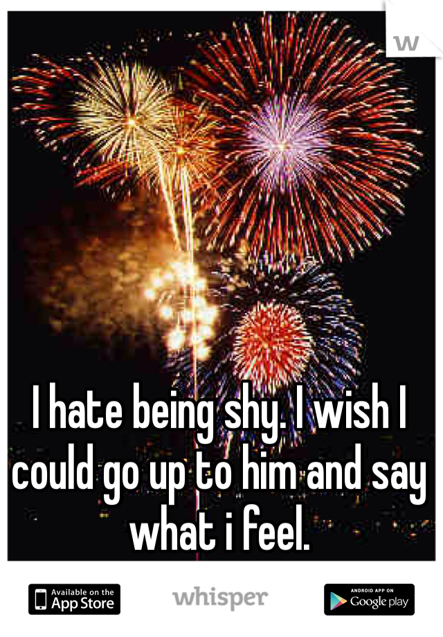 I hate being shy. I wish I could go up to him and say what i feel.