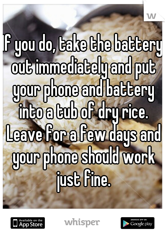 If you do, take the battery out immediately and put your phone and battery into a tub of dry rice. Leave for a few days and your phone should work just fine.