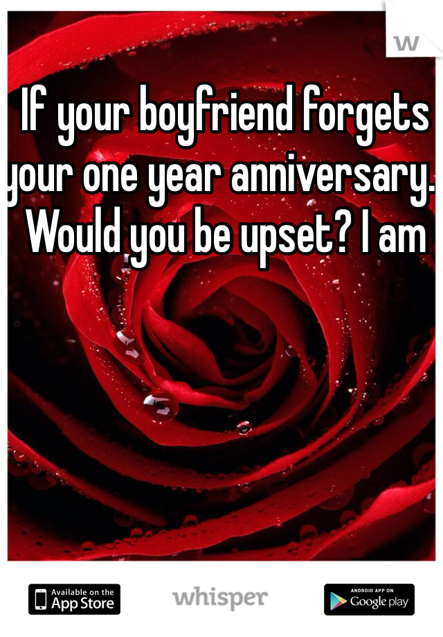 If your boyfriend forgets your one year anniversary.. Would you be upset? I am