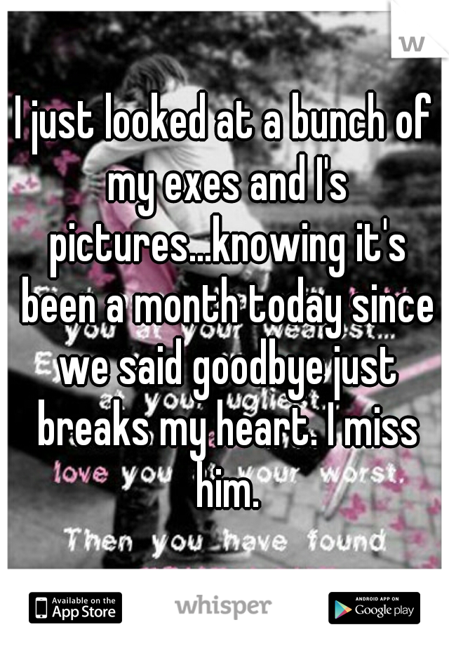 I just looked at a bunch of my exes and I's pictures...knowing it's been a month today since we said goodbye just breaks my heart. I miss him.