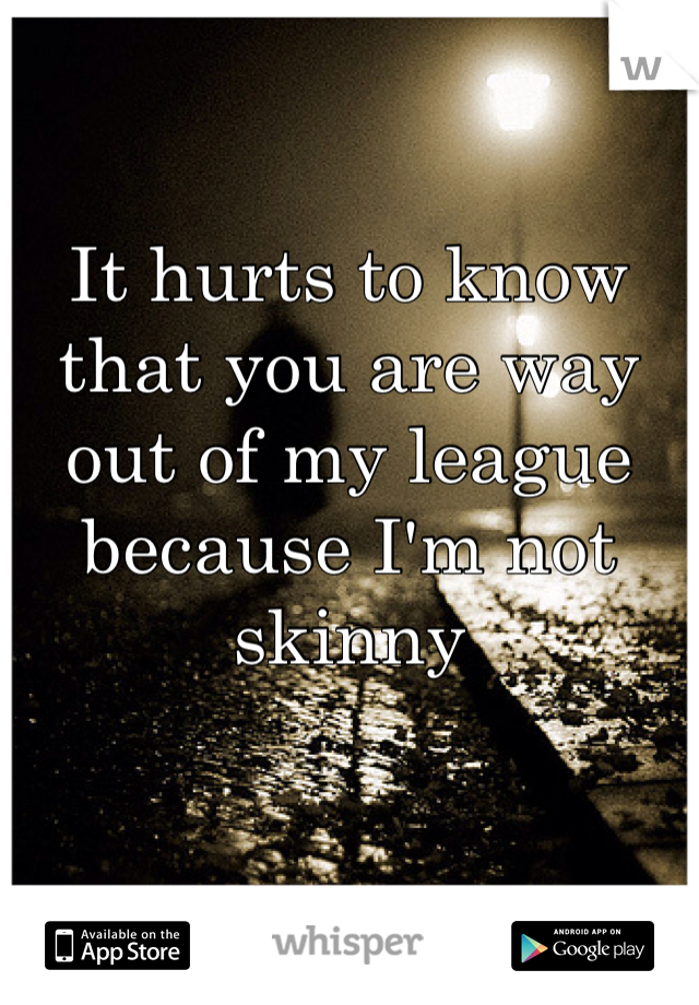 It hurts to know that you are way out of my league because I'm not skinny