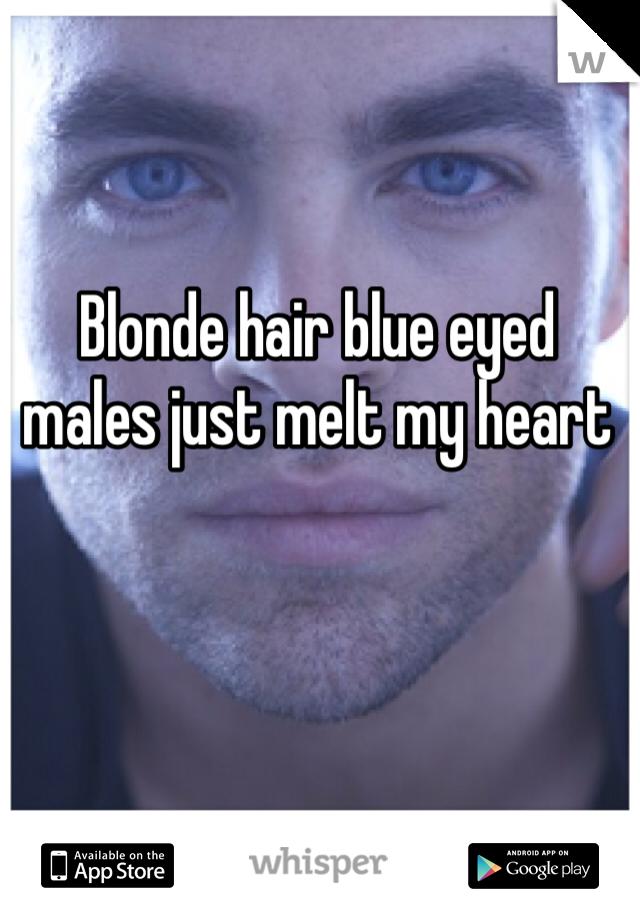 Blonde hair blue eyed males just melt my heart