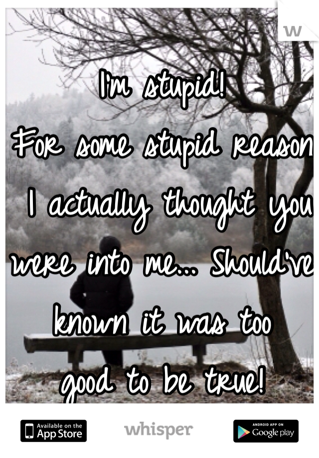 I'm stupid!  For some stupid reason  I actually thought you were into me... Should've known it was too  good to be true!