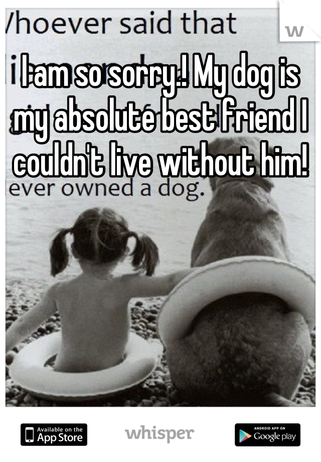 I am so sorry.! My dog is my absolute best friend I couldn't live without him!