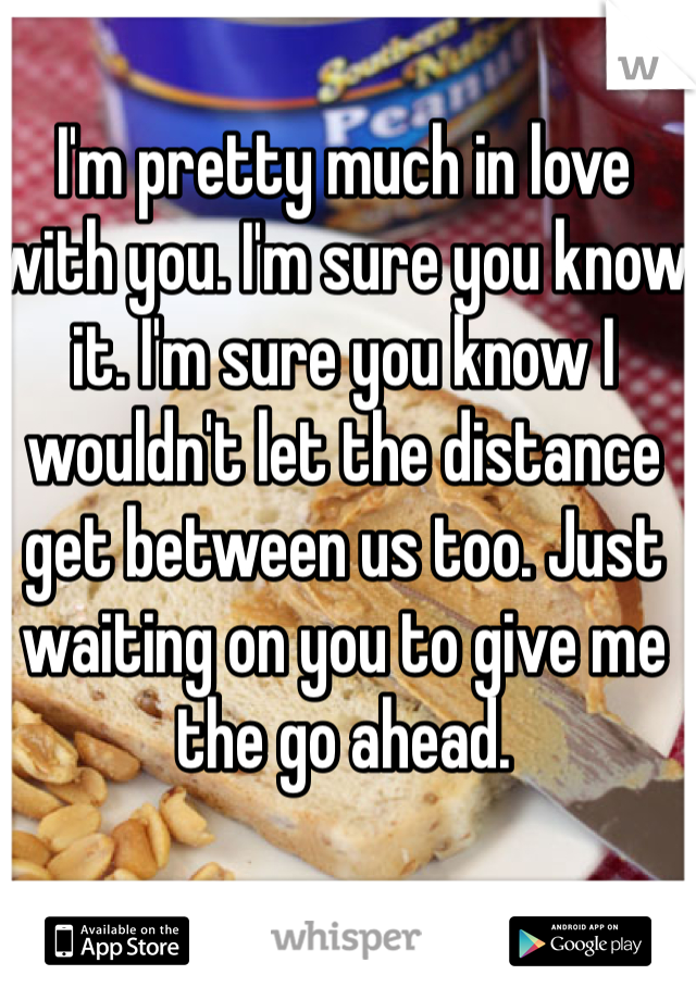 I'm pretty much in love with you. I'm sure you know it. I'm sure you know I wouldn't let the distance get between us too. Just waiting on you to give me the go ahead.