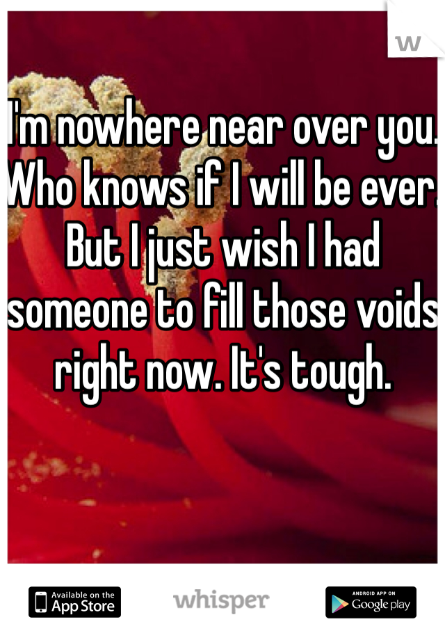 I'm nowhere near over you. Who knows if I will be ever. But I just wish I had someone to fill those voids right now. It's tough.