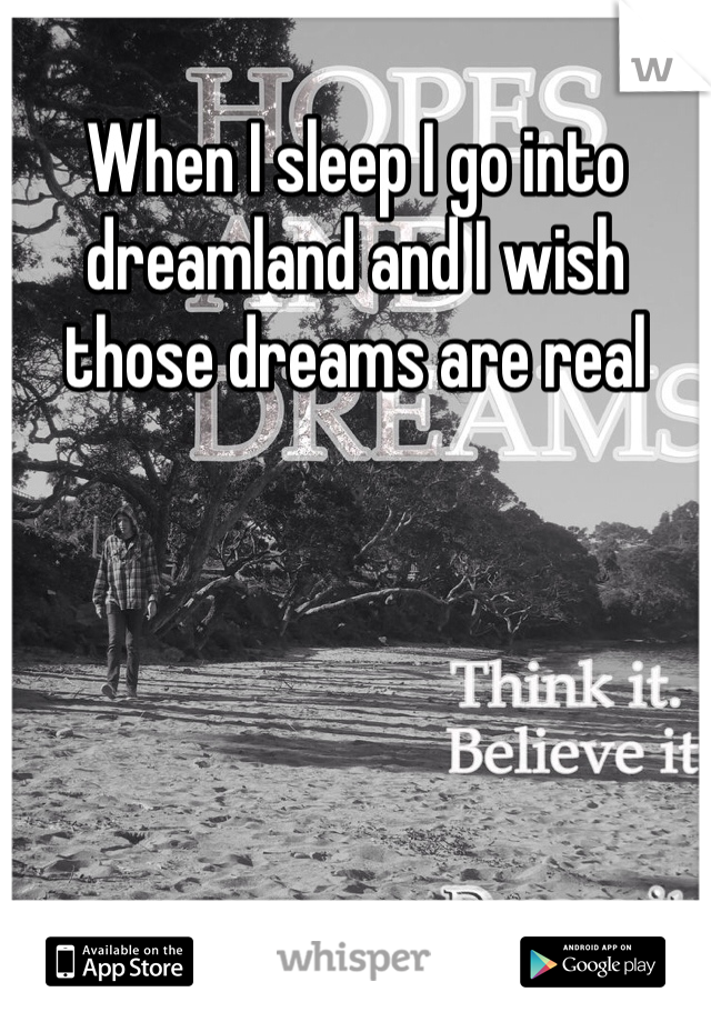 When I sleep I go into dreamland and I wish those dreams are real