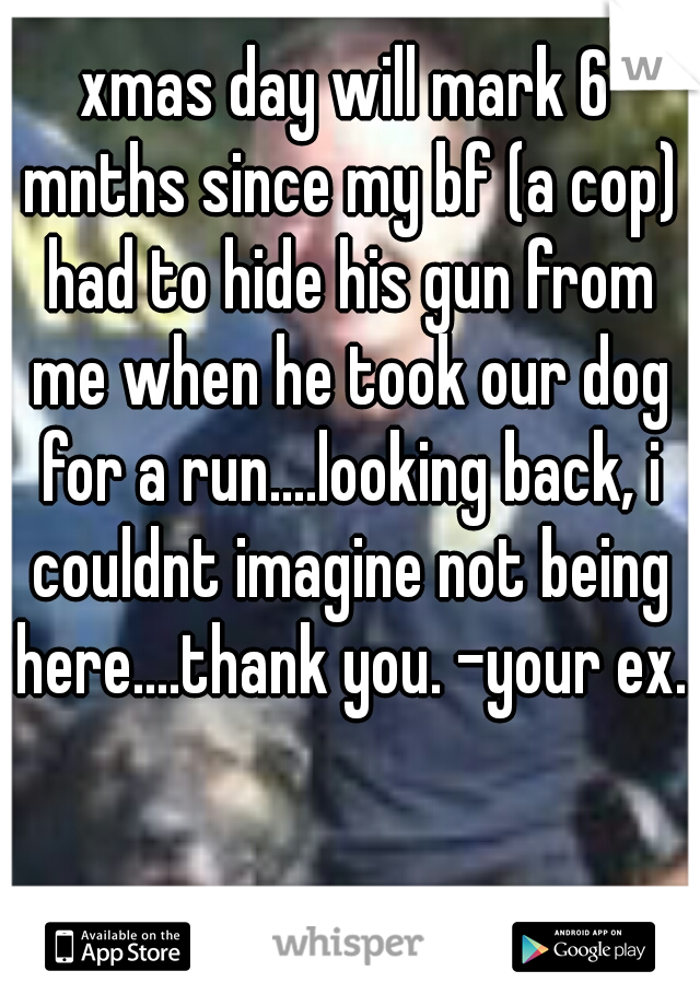 xmas day will mark 6 mnths since my bf (a cop) had to hide his gun from me when he took our dog for a run....looking back, i couldnt imagine not being here....thank you. -your ex.