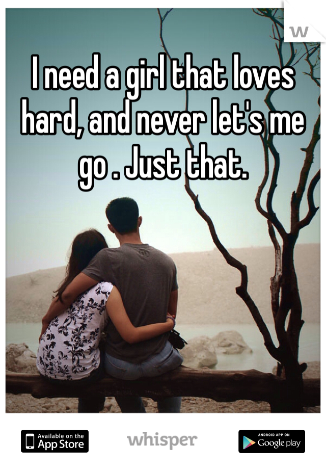 I need a girl that loves hard, and never let's me go . Just that.