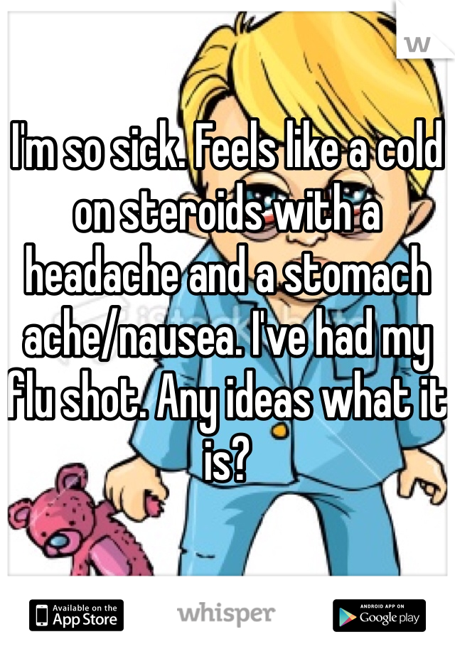 I'm so sick. Feels like a cold on steroids with a headache and a stomach ache/nausea. I've had my flu shot. Any ideas what it is?