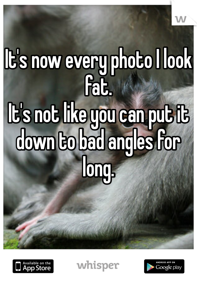 It's now every photo I look fat.  It's not like you can put it down to bad angles for long.