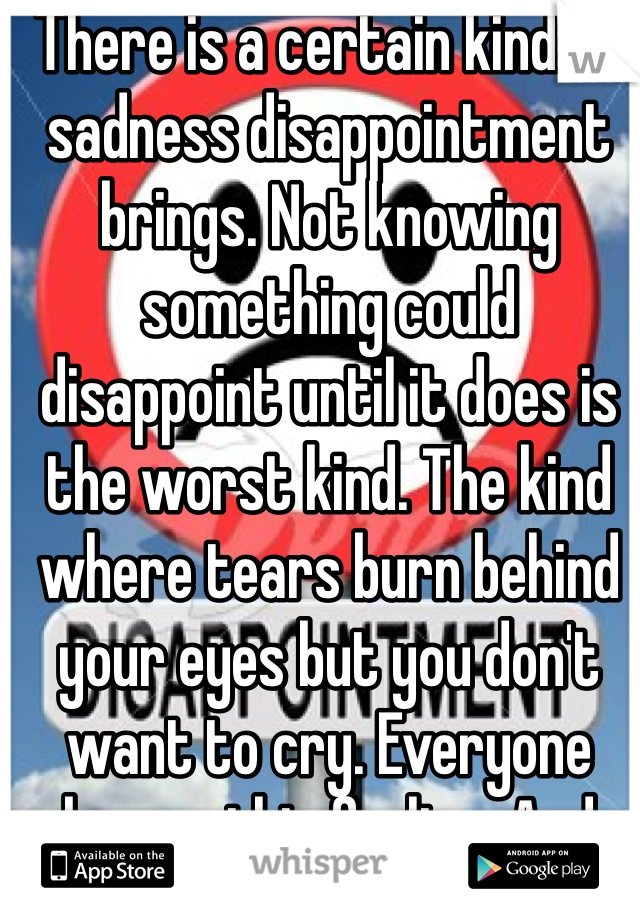 There is a certain kind of sadness disappointment brings. Not knowing something could disappoint until it does is the worst kind. The kind where tears burn behind your eyes but you don't want to cry. Everyone knows this feeling. And quite frankly, it sucks.