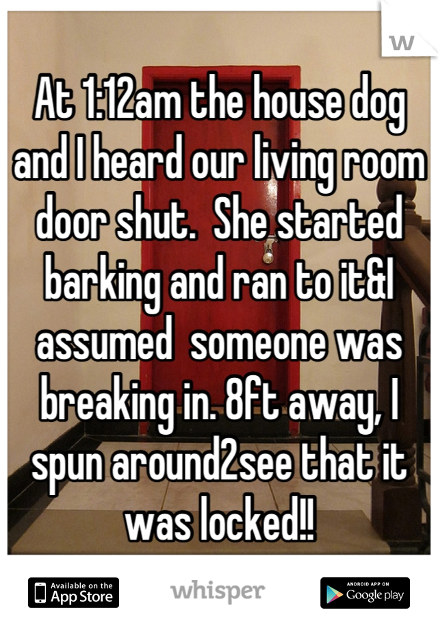 At 1:12am the house dog and I heard our living room door shut.  She started barking and ran to it&I assumed  someone was breaking in. 8ft away, I spun around2see that it was locked!!