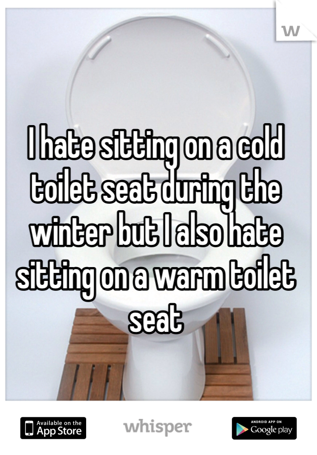 I hate sitting on a cold toilet seat during the winter but I also hate sitting on a warm toilet seat
