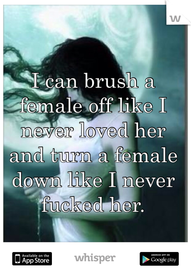 I can brush a female off like I never loved her and turn a female down like I never fucked her.