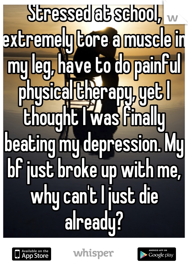 Stressed at school, extremely tore a muscle in my leg, have to do painful physical therapy, yet I thought I was finally beating my depression. My bf just broke up with me, why can't I just die already?