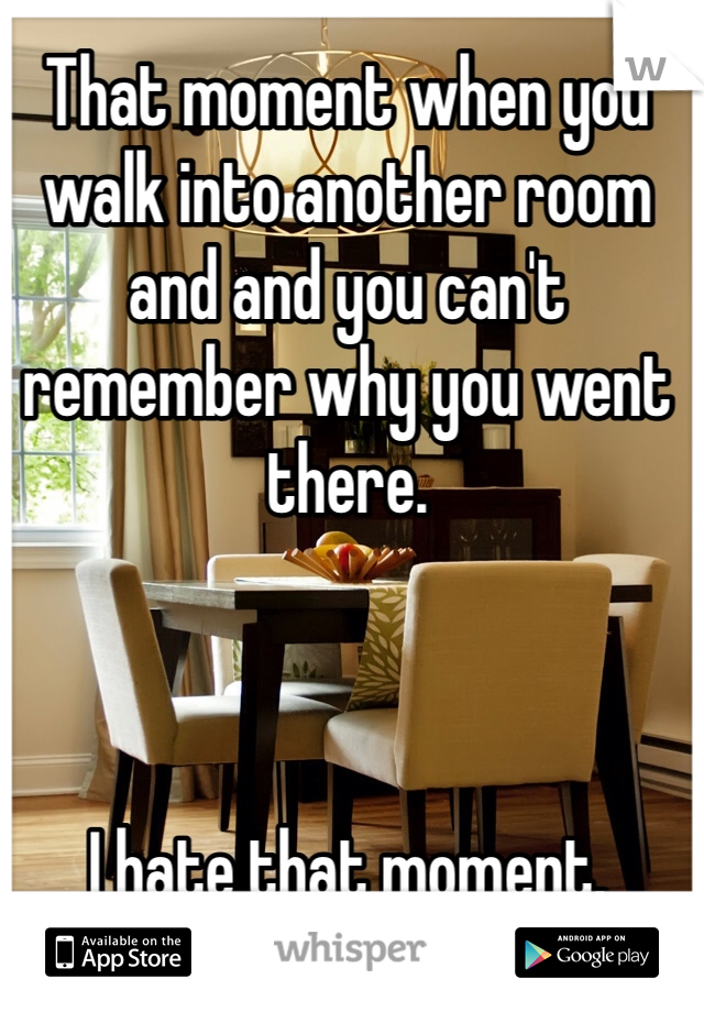 That moment when you walk into another room and and you can't remember why you went there.     I hate that moment.