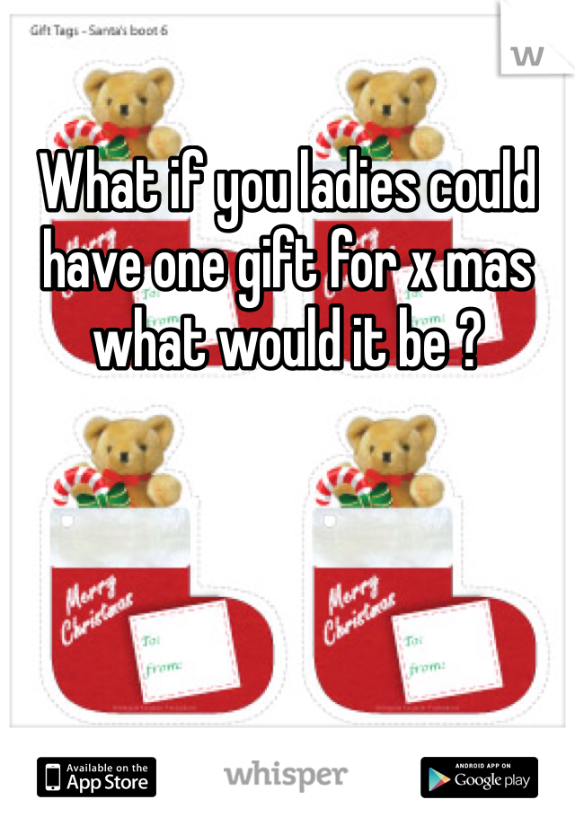 What if you ladies could have one gift for x mas what would it be ?