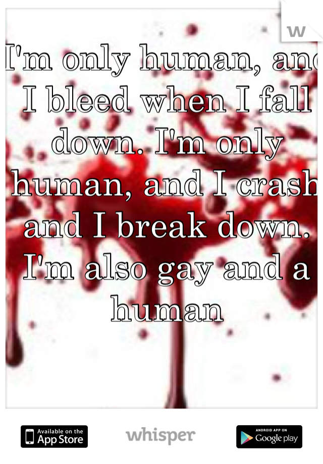 I'm only human, and I bleed when I fall down. I'm only human, and I crash and I break down. I'm also gay and a human