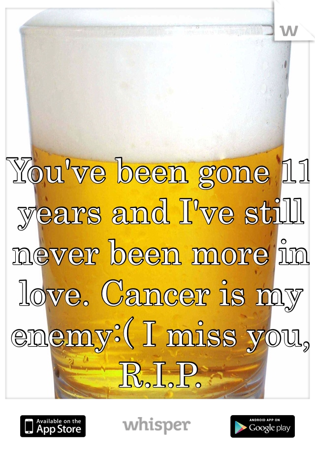 You've been gone 11 years and I've still never been more in love. Cancer is my enemy:( I miss you, R.I.P.