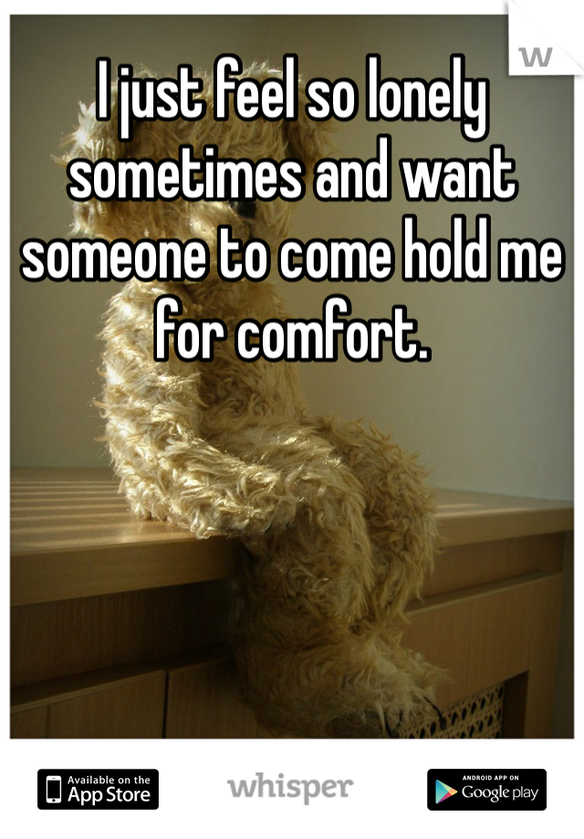 I just feel so lonely sometimes and want someone to come hold me for comfort.