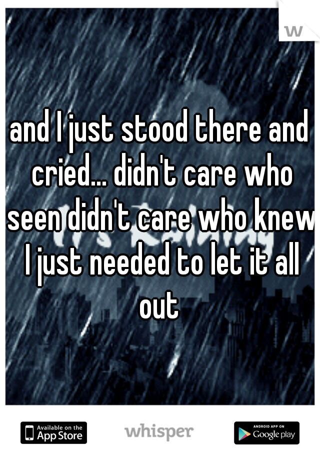 and I just stood there and cried... didn't care who seen didn't care who knew I just needed to let it all out