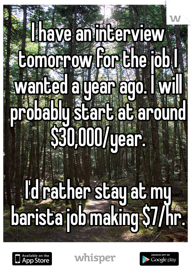 I have an interview tomorrow for the job I wanted a year ago. I will probably start at around $30,000/year.  I'd rather stay at my barista job making $7/hr.