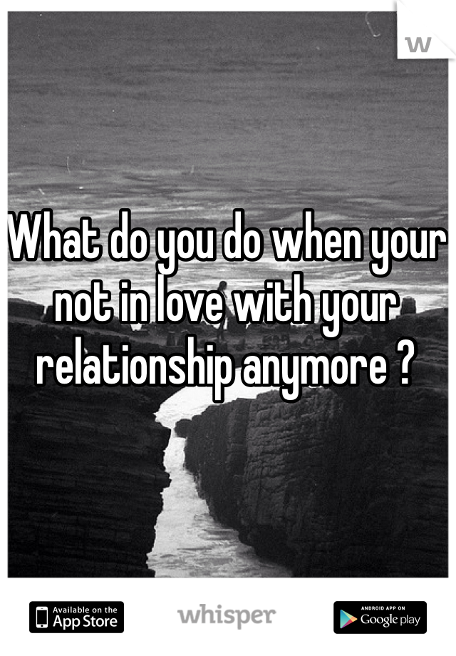 What do you do when your not in love with your relationship anymore ?