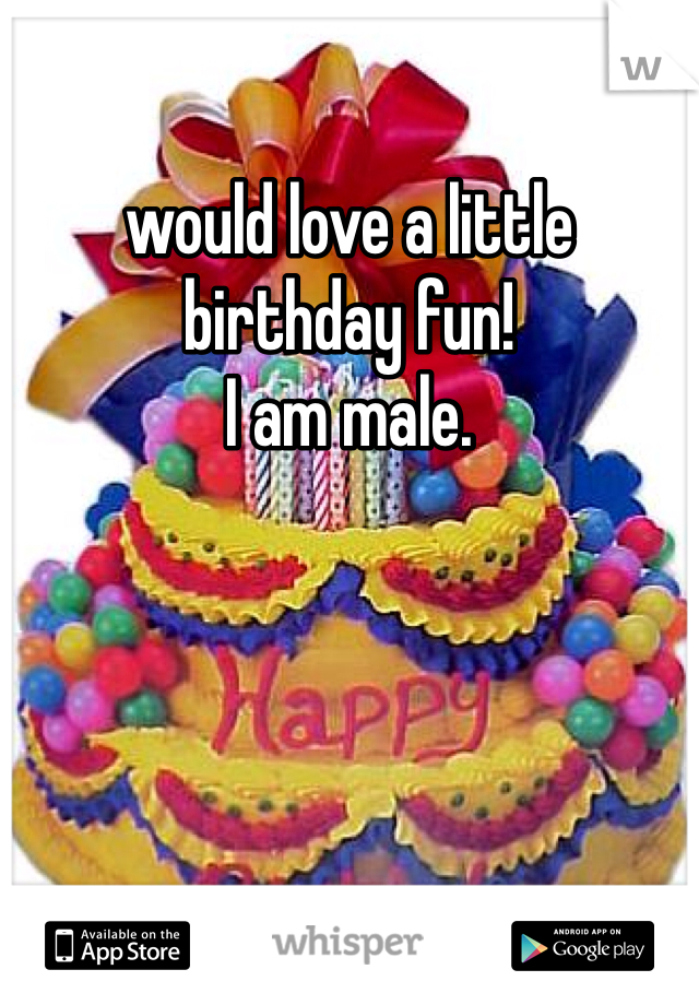would love a little birthday fun! I am male.