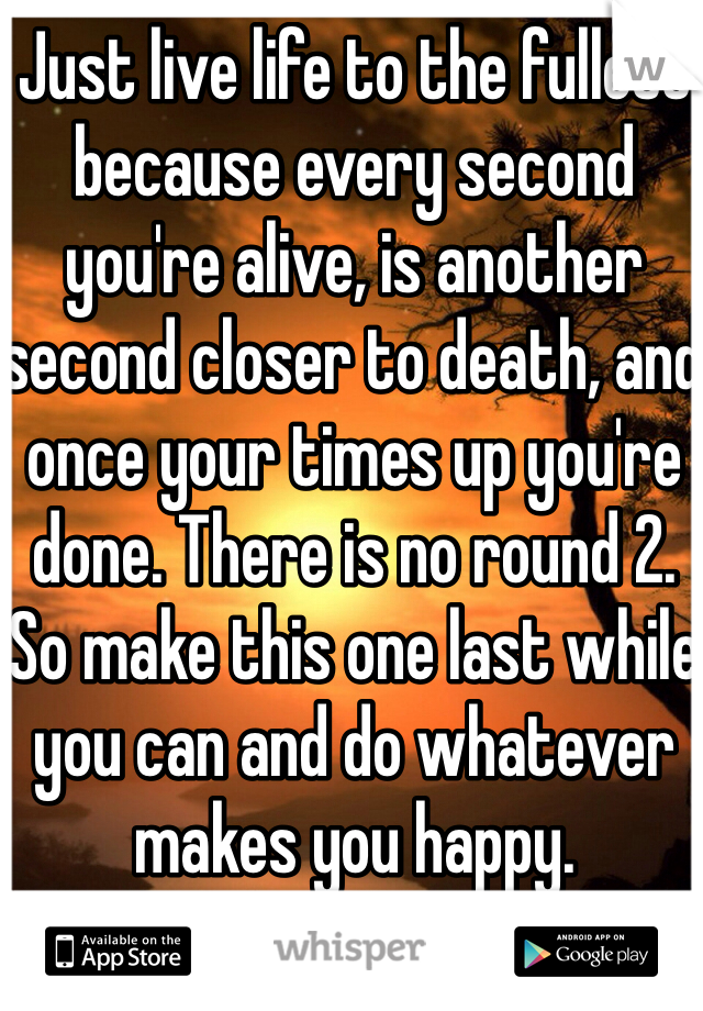 Just live life to the fullest because every second you're alive, is another second closer to death, and once your times up you're done. There is no round 2. So make this one last while you can and do whatever makes you happy.