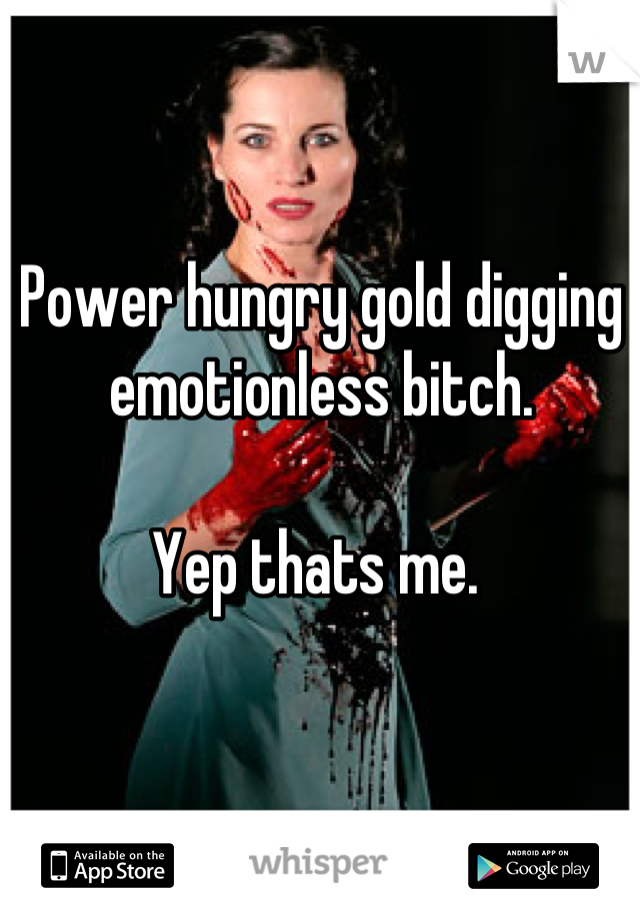 Power hungry gold digging emotionless bitch.   Yep thats me.