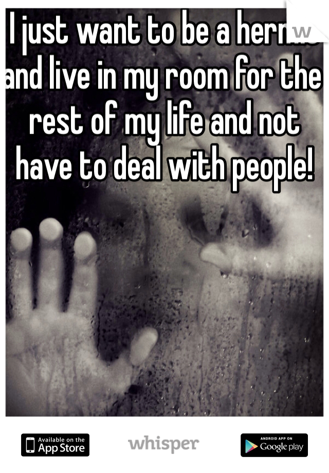 I just want to be a hermit and live in my room for the rest of my life and not have to deal with people!