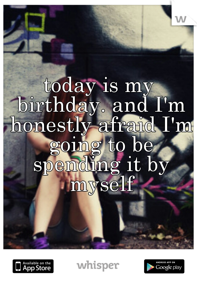 today is my birthday. and I'm honestly afraid I'm going to be spending it by myself