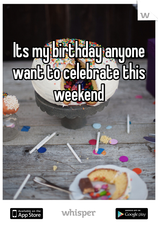 Its my birthday anyone want to celebrate this weekend