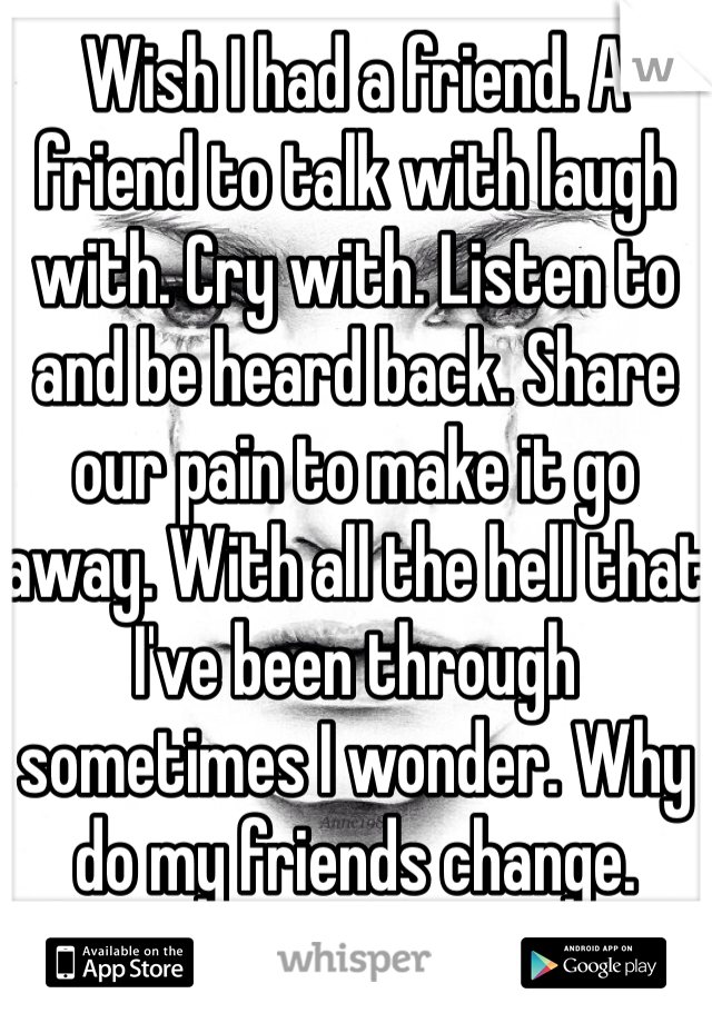 Wish I had a friend. A friend to talk with laugh with. Cry with. Listen to and be heard back. Share our pain to make it go away. With all the hell that I've been through sometimes I wonder. Why do my friends change.