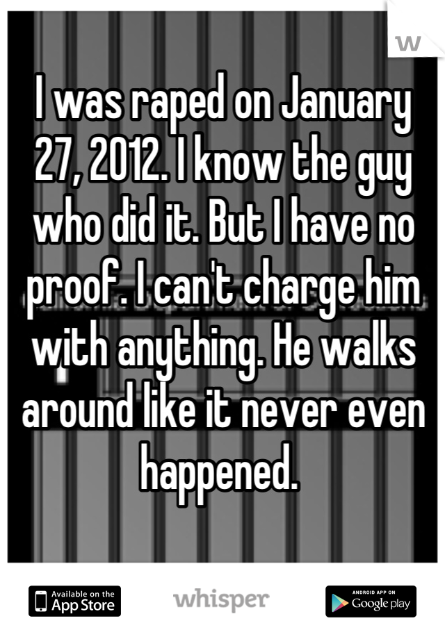 I was raped on January 27, 2012. I know the guy who did it. But I have no proof. I can't charge him with anything. He walks around like it never even happened.