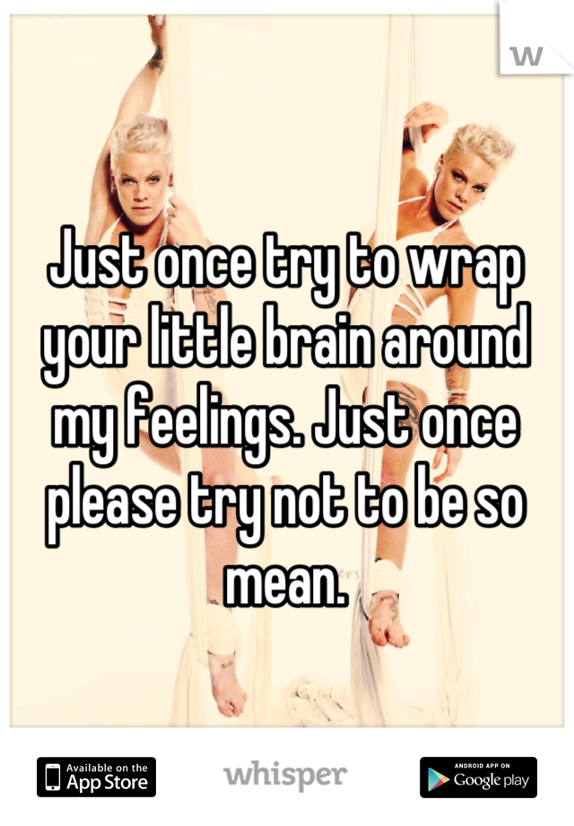 Just once try to wrap your little brain around my feelings. Just once please try not to be so mean.