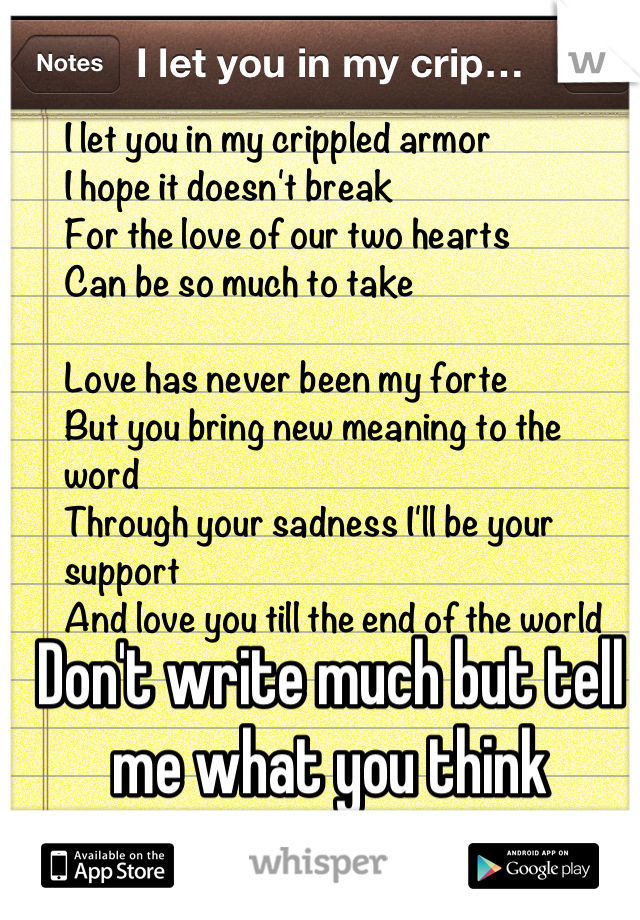 Don't write much but tell me what you think