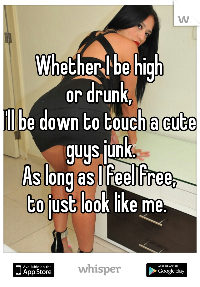 Whether I be high or drunk, I'll be down to touch a cute guys junk. As long as I feel free, to just look like me.