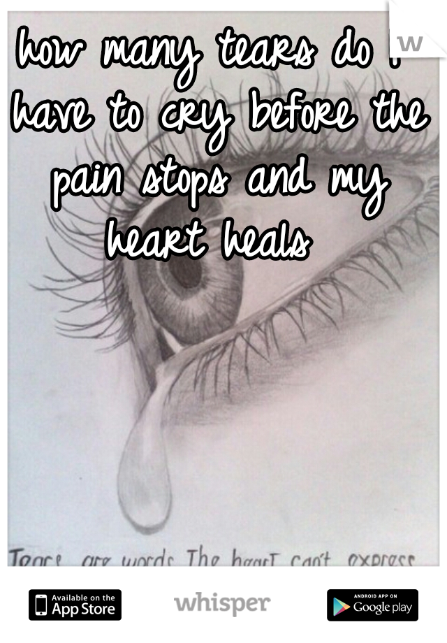 how many tears do I have to cry before the pain stops and my heart heals