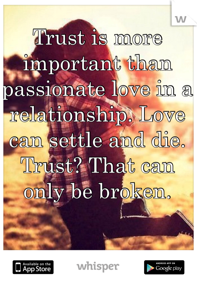 Trust is more important than passionate love in a relationship. Love can settle and die. Trust? That can only be broken.