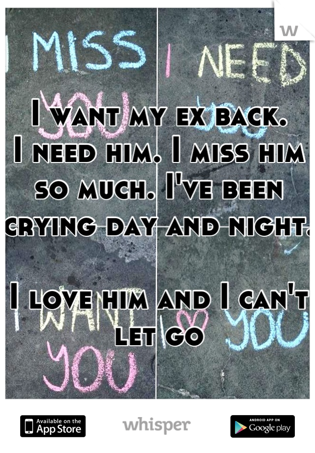 I want my ex back. I need him. I miss him so much. I've been crying day and night.  I love him and I can't let go