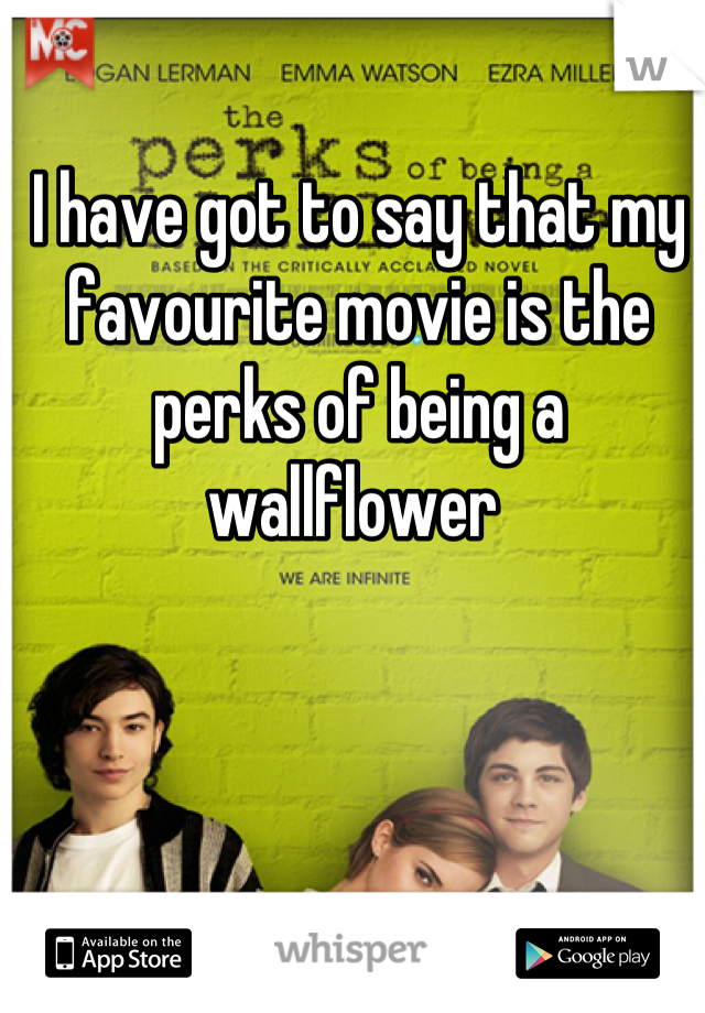 I have got to say that my favourite movie is the perks of being a wallflower