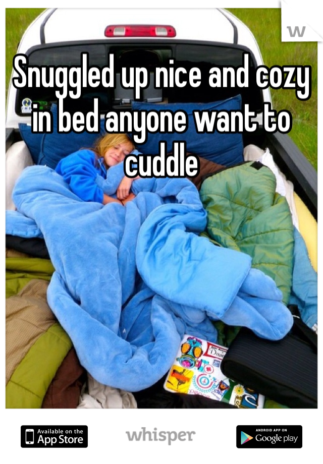 Snuggled up nice and cozy in bed anyone want to cuddle