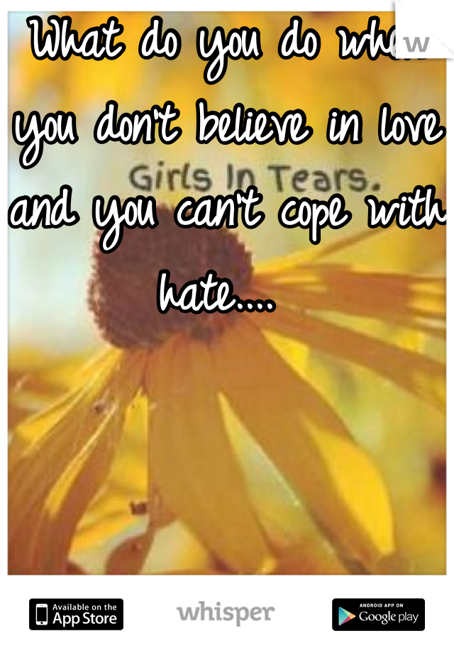 What do you do when you don't believe in love and you can't cope with hate....