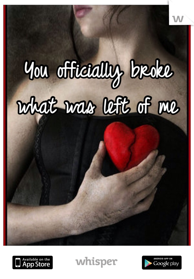 You officially broke what was left of me