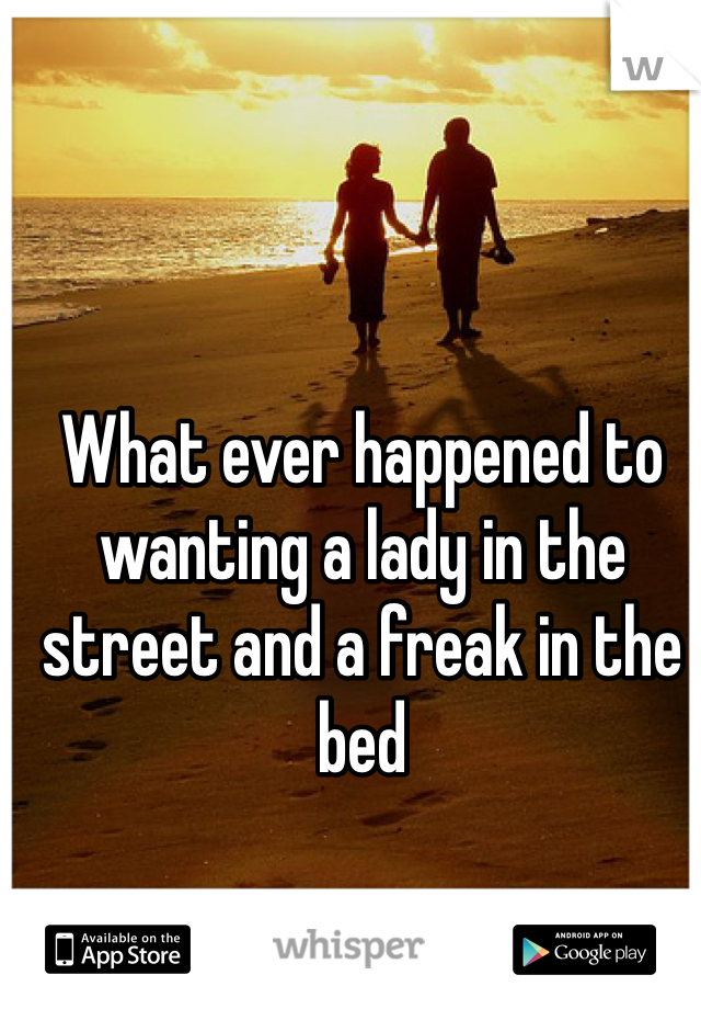 What ever happened to wanting a lady in the street and a freak in the bed