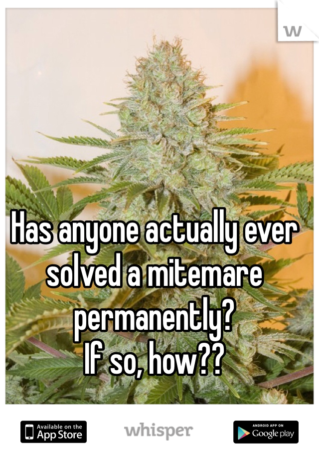 Has anyone actually ever solved a mitemare permanently? If so, how??